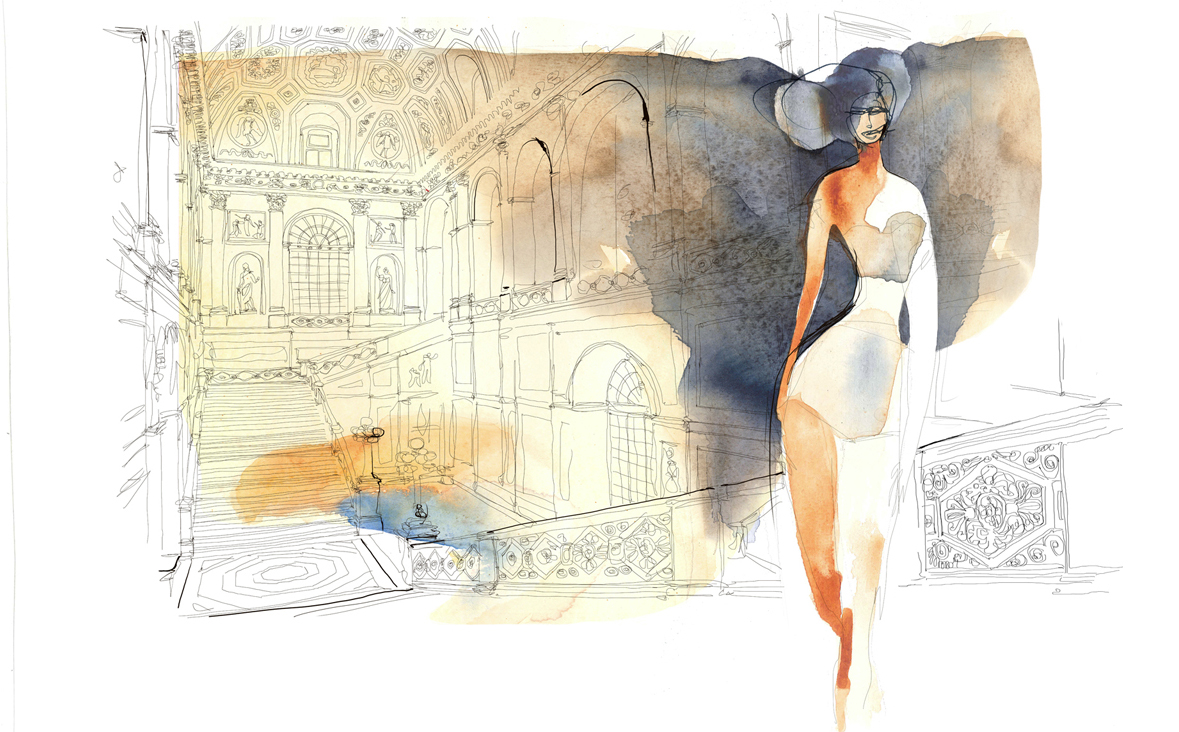 Illustrazione acquerello moda e interior design, Alessandra Scandella