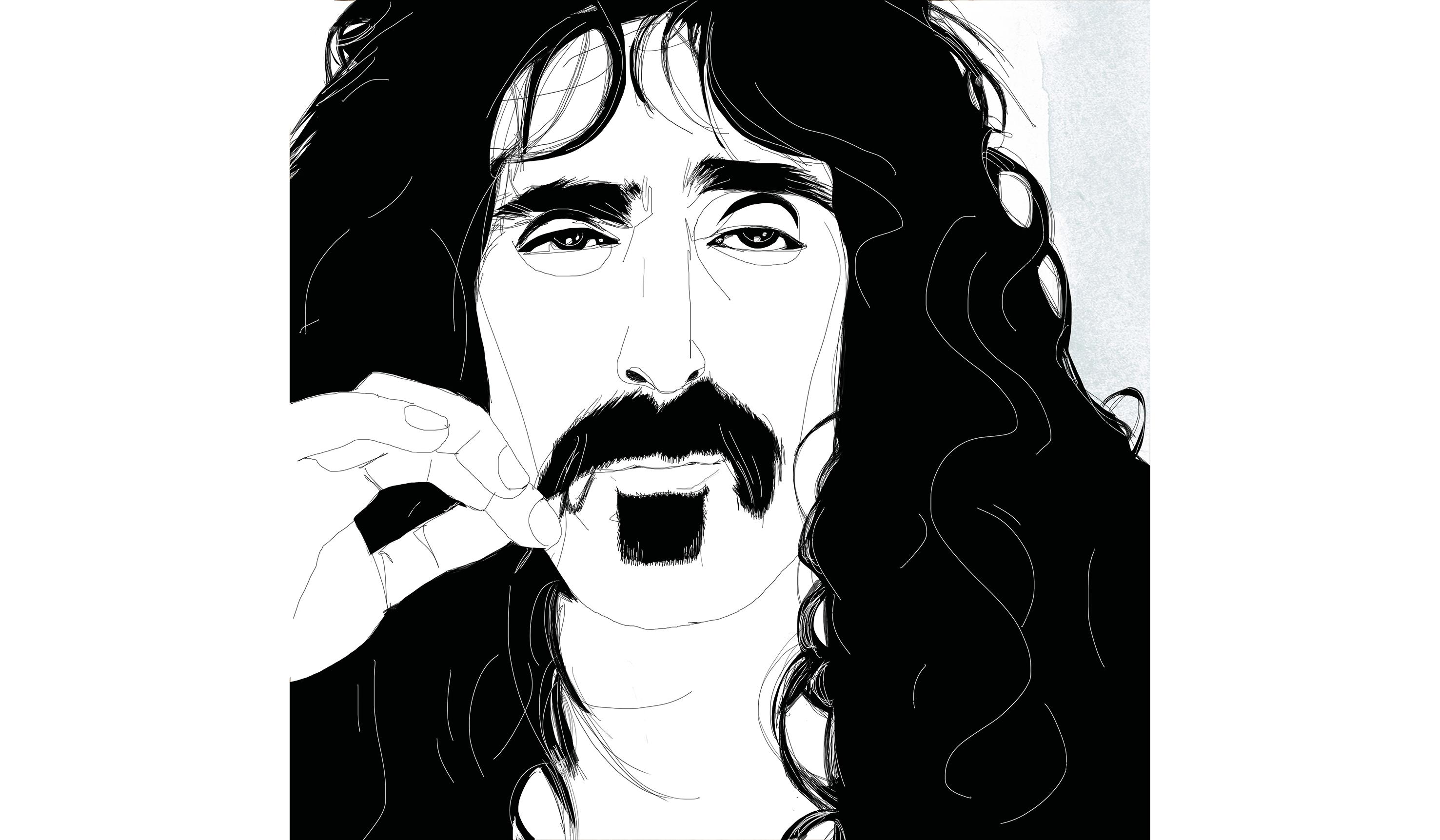 Portait-watercolor illustration-Frank Zappa-Alessandra Scandella