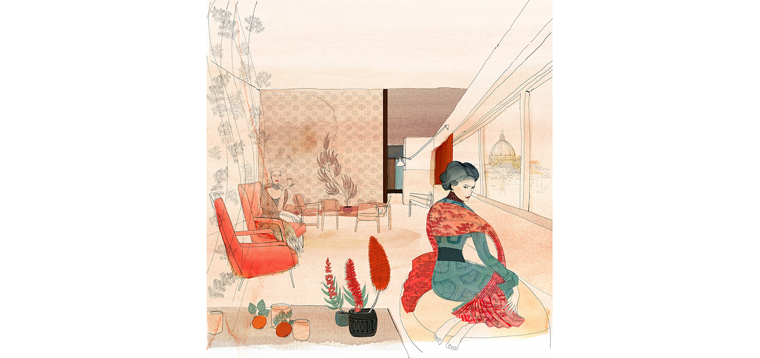 Watercolor illustration, fasdhion and interior design, Alessandra Scandella