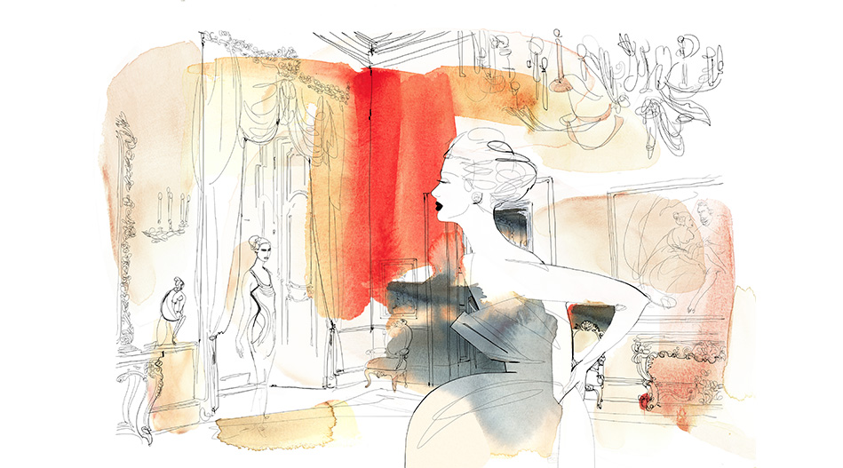 Watercolor illustration, fashion, interior, Alessandra Scandella