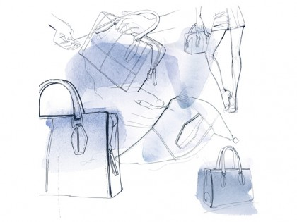 Illustrazione moda acquerello, Catalogo Tod's Alessandra Scandella