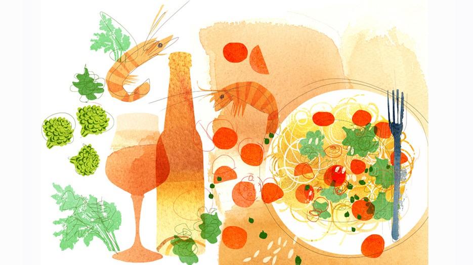 Illustrazione_acquerello_alimentazione_pasta-Alessandra_Scandella