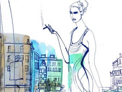 Acquerello illustrazione, donna , moda e città, Alessandra Scandella