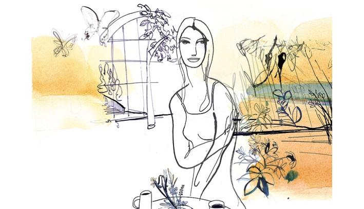 Illustrazione acquerello donna e giardino, moda, Alessandra Scandella Corriere della Sera, Modignani copia