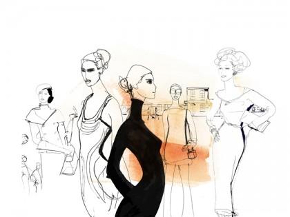 Illustrazione acquerello moda, donne, Alessandra Scandella