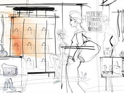 Illustrazione acquerello moda, donne e showroom, Alessandra Scandella