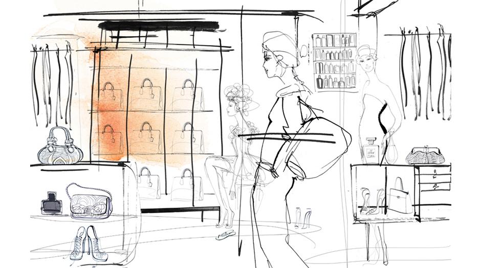 Illustrazione acquerello moda, donne e showroom, Alessandra Scandella