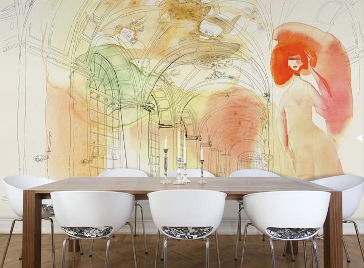Illustrazione acquerello interno e donna, Alessandra Scandella