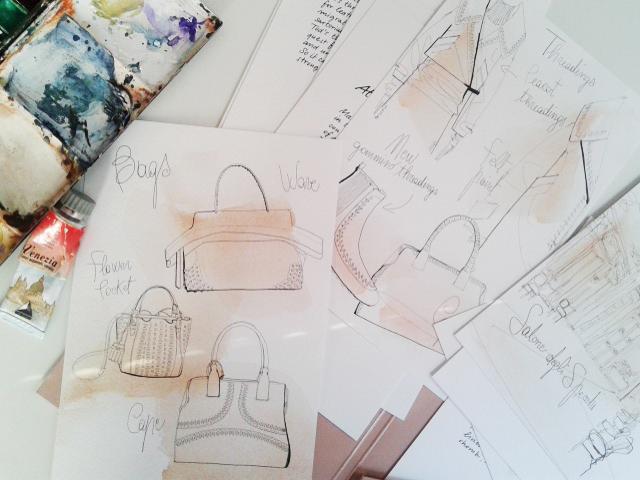 Illustrazione acquerello moda, Alessandra Scandella, Tod's, borse