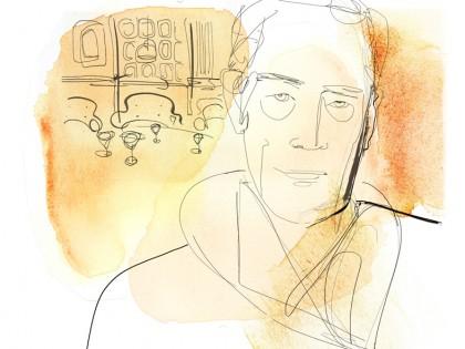 Watercolor illustration, men's portrait
