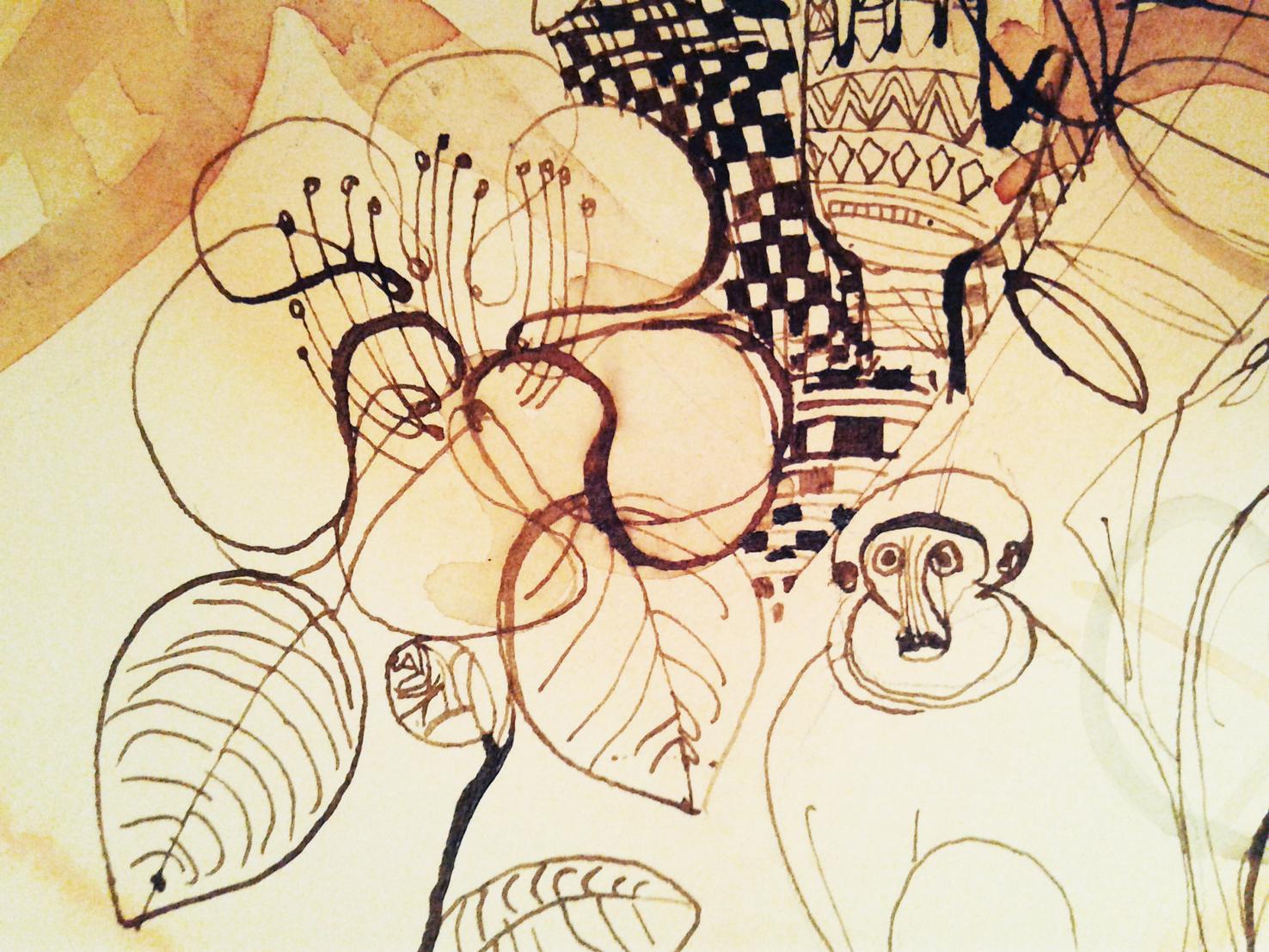 Illustrazione acquerello, viaggio, natura, fiori, decorazione