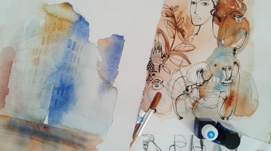 Illustrazione acquerello citta',  persone e animali Alessandra Scandella