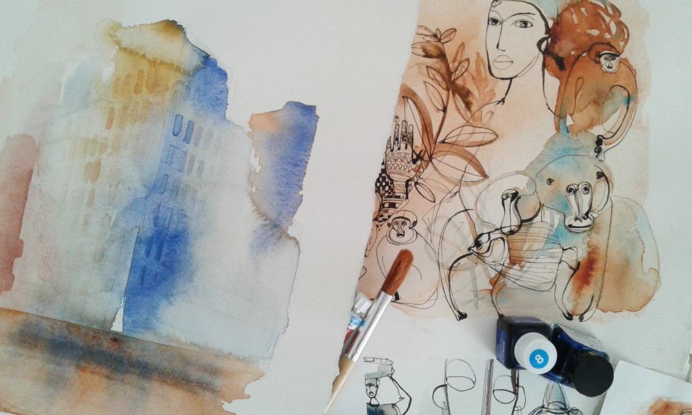 Illustrazione Acquerello, città' e persone