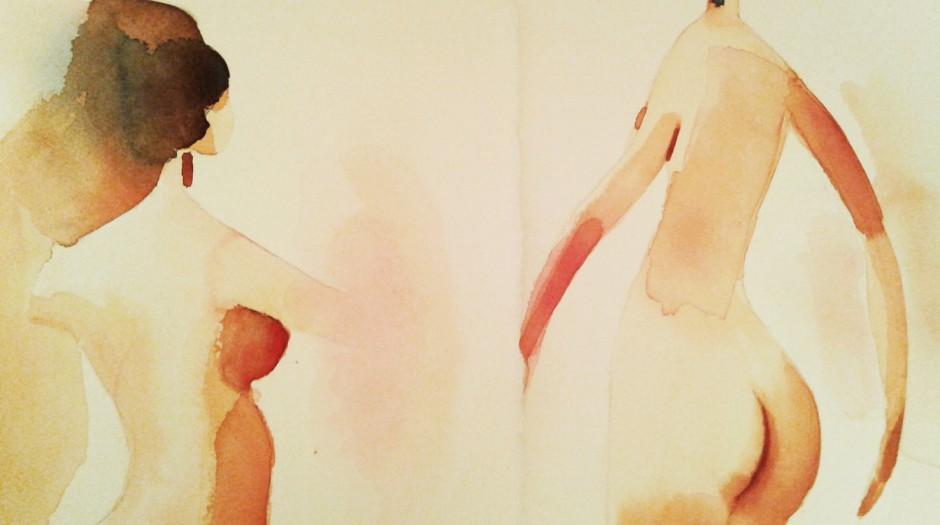 Illustrazione acquerello, nudi, 1, Alessandra Scandella