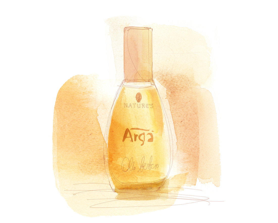 Illustrazione ad acquerello,  packaging Arga', Biosline, olio di argan