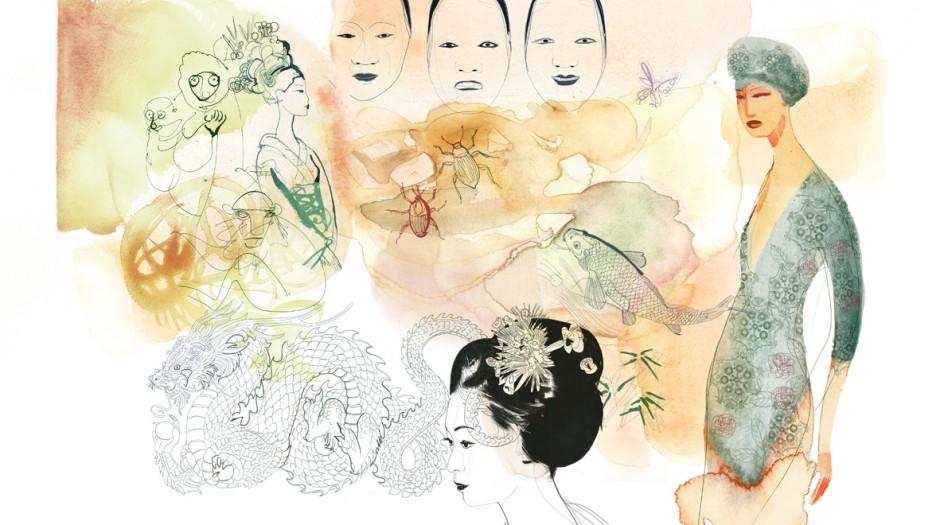 Illustrazione acquarello, moda, donna e Giappone