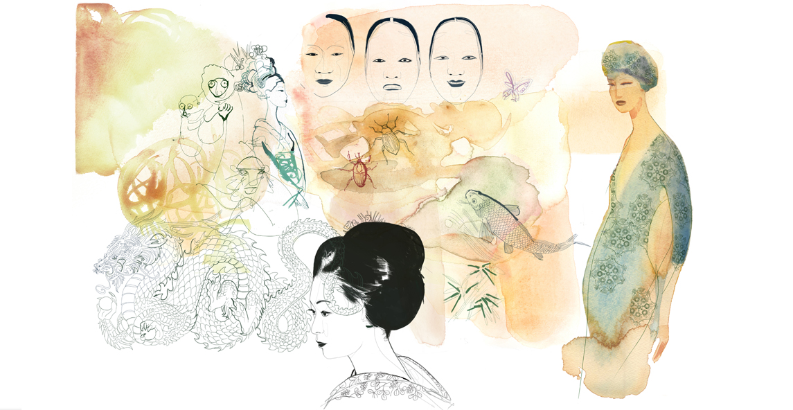 Illustrazione fashion e Japan, acquerello, Alessandra Scandella