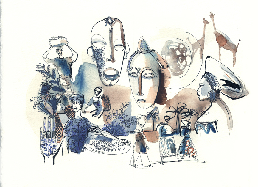 Illustrazione acquerello viaggio, Africa