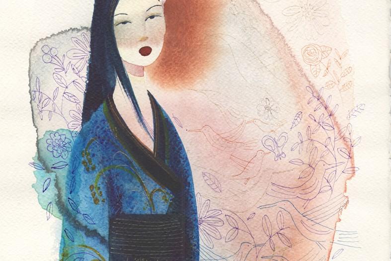 Illustrazione acquerello donna Giappone