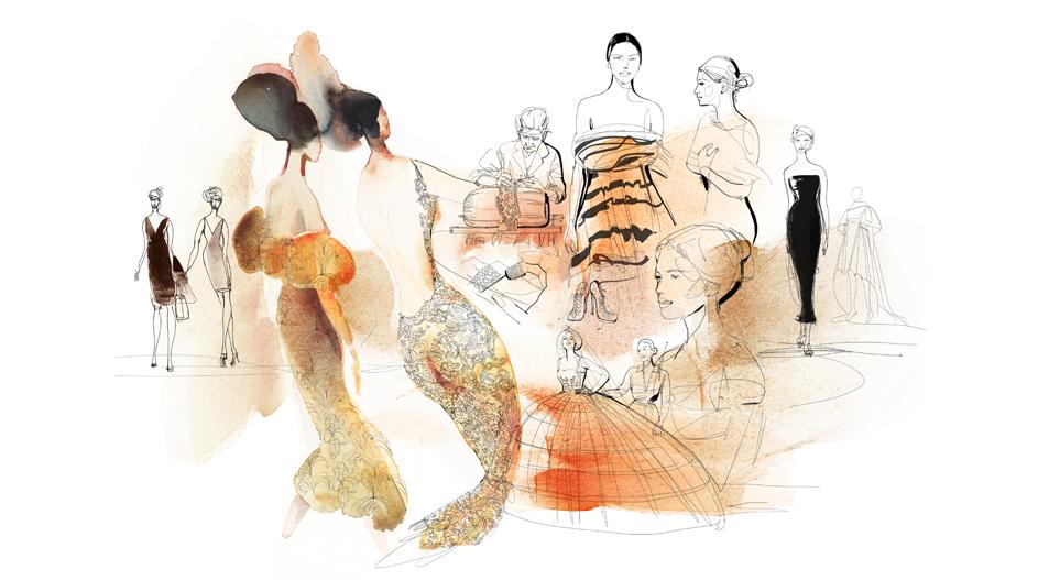 Illustrazione acquerello moda Italia,