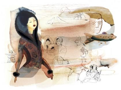 Illustrazione acquerello moda e viaggio, Inuit, Alessandra Scandella