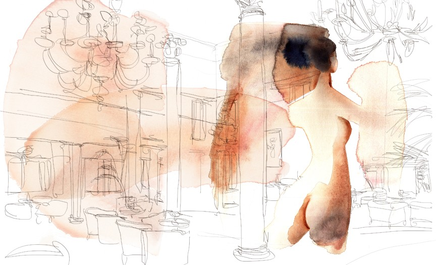 Watercolor illustration nude and interior, Alessandra Scandella