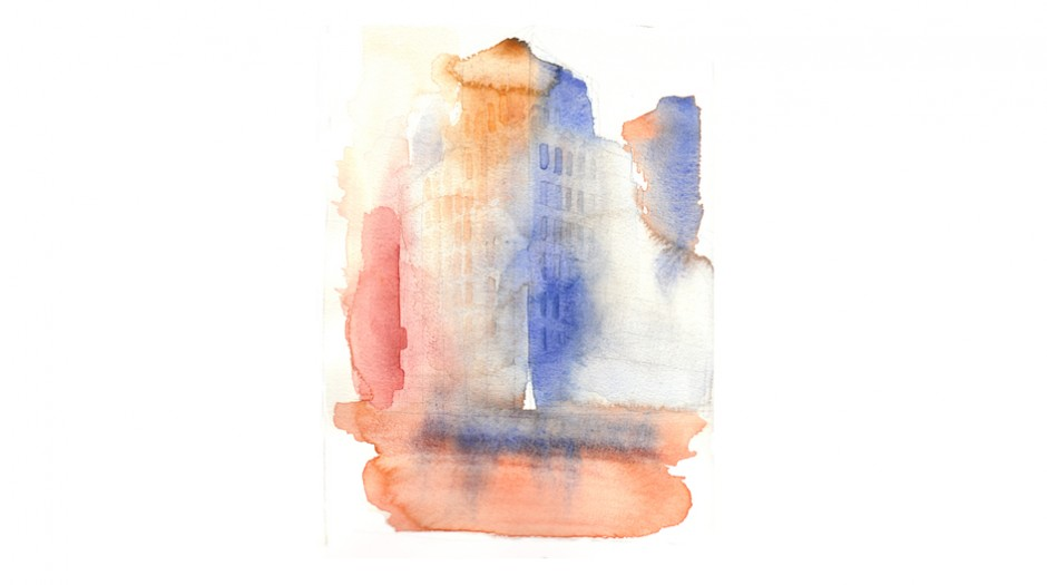 watercolor illustration, city, alessandra Scandella