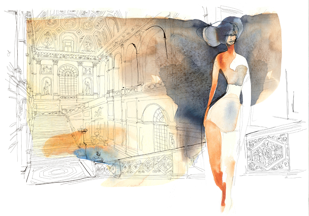 Watercolor illustration, fashion