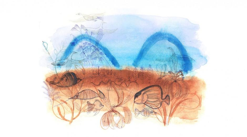 Illustrazione acquerello paesaggio e animali