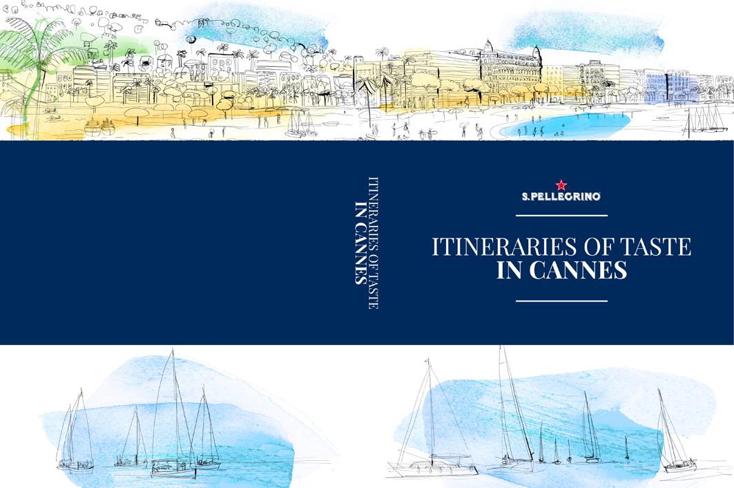 Illustrazione acquerello  Guida Cannes, mappa, Cannes, Croisette
