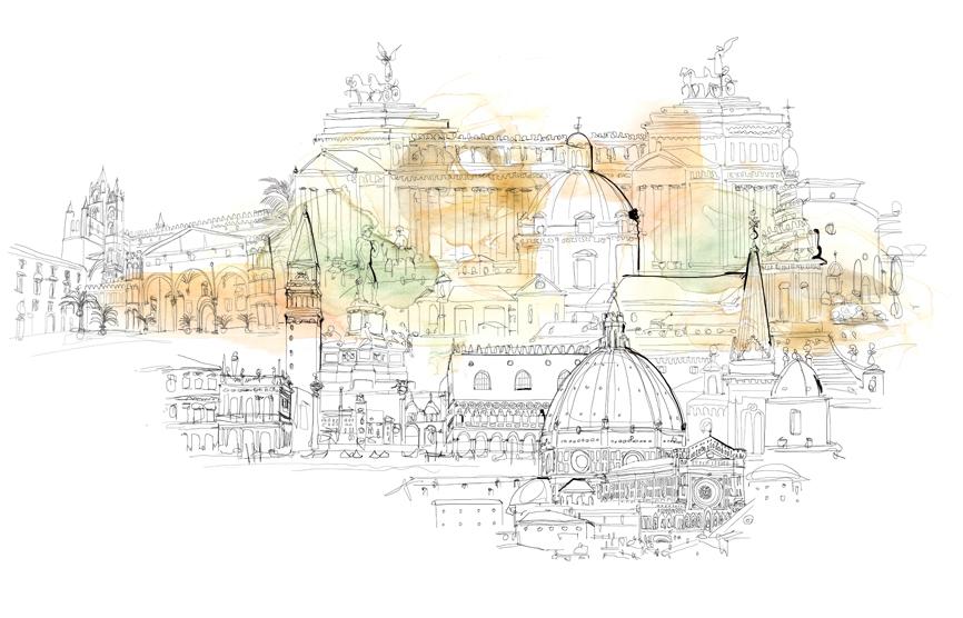 Illustrazione acquerello Italia, citta' e arte