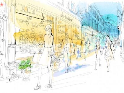 Illustrazione acquerello turismo, mappa, shopping, Alessandra Scandella