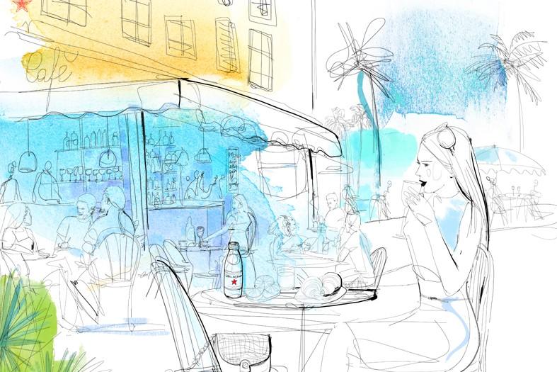 Illustrazione acquerello viaggio, caffe', moda, Alessandra Scandella