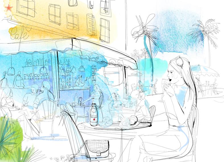 Illustrazione acquerello viaggio, moda, caffe', aperitivo, carnet de voyage