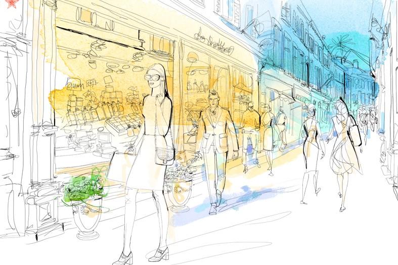 Watercolor illustration, shopping, Alessandra Scandella