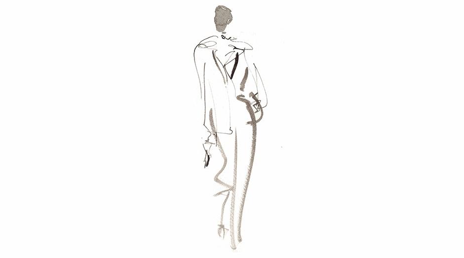Illustrazione acquerello donna, Milan Fashion Week