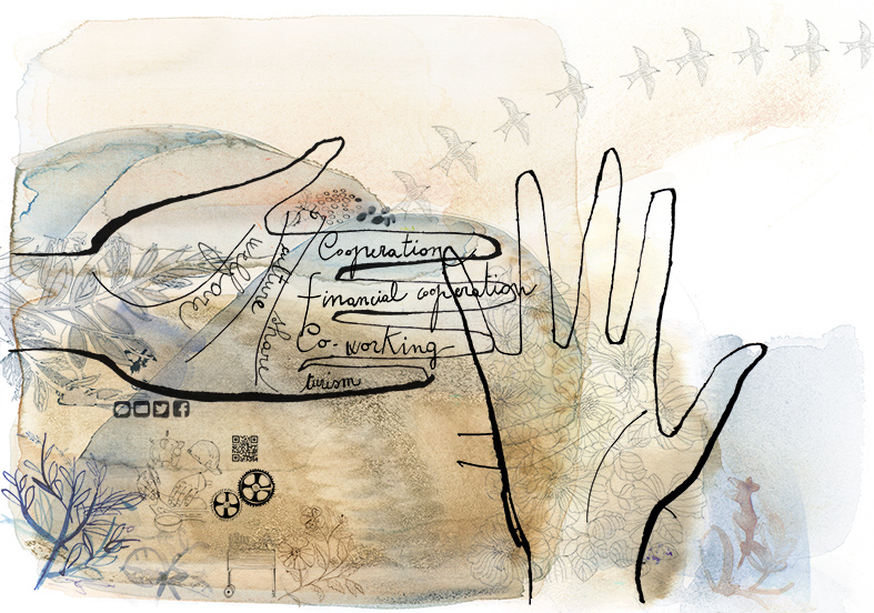illustrazione acquerello mani