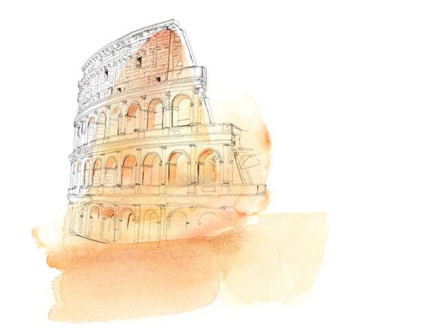 colosseo-illustrazione-animazione-acquerello-alessandra-scandella