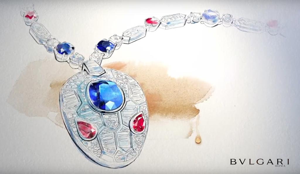 Illustrazione gioiello acquerello, Bulgari