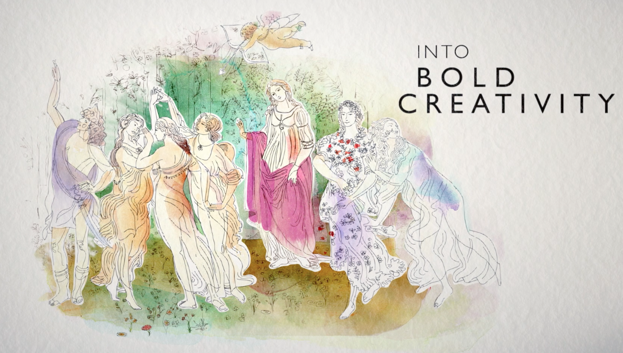 Illustration, watercolor, Botticelli, Bulgari, animation with Marco Genone, about high jewelry and art