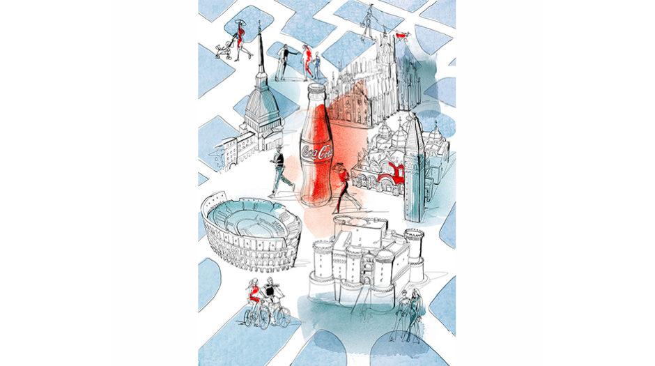 Illustrazione acquerello citta' italiane, Alessandra Scandella