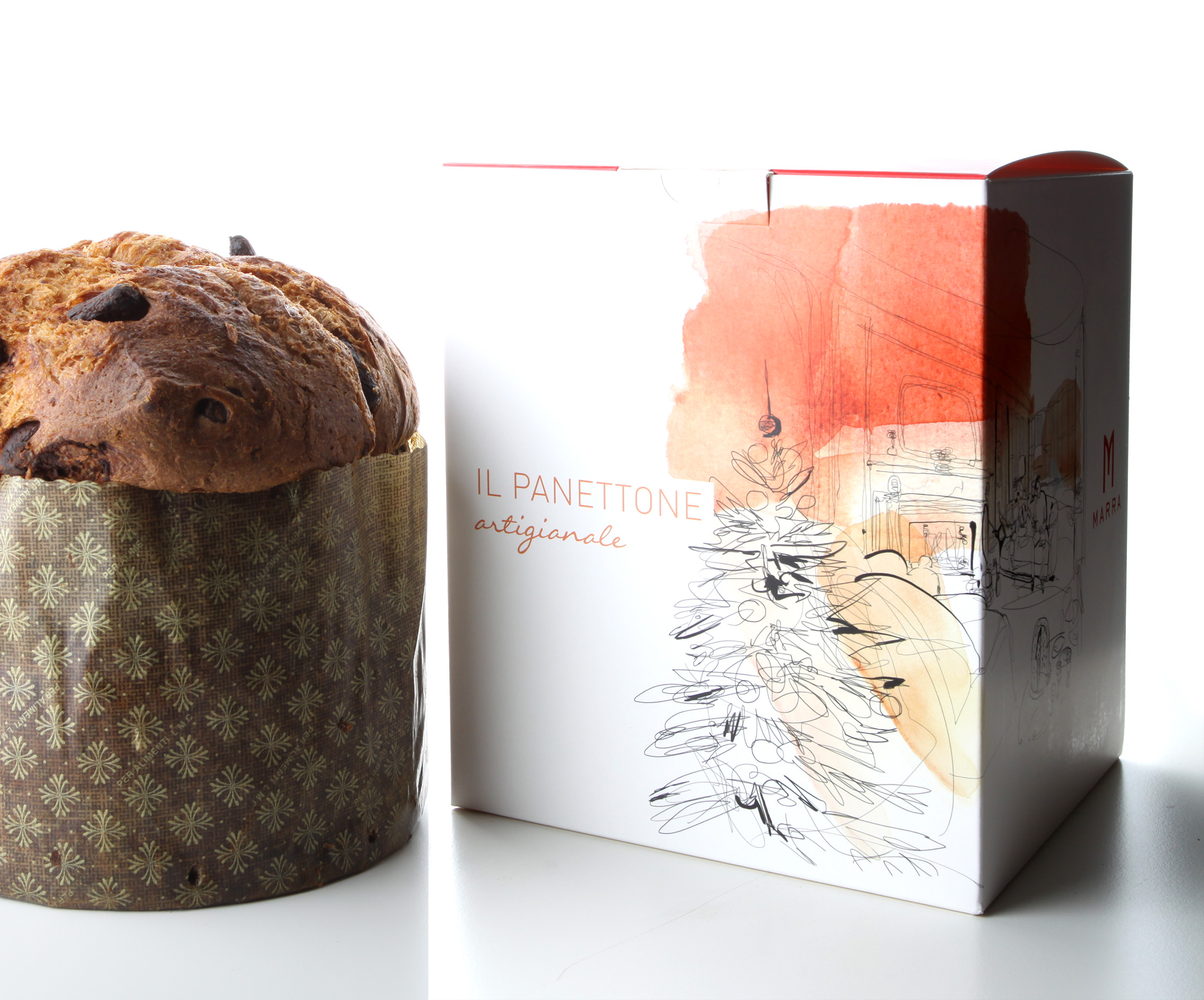 Watercolor illustration panettone