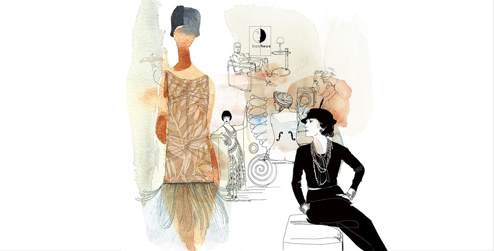 Illustrazione acquerello moda, mostra anni Venti, Milano Fashion Library