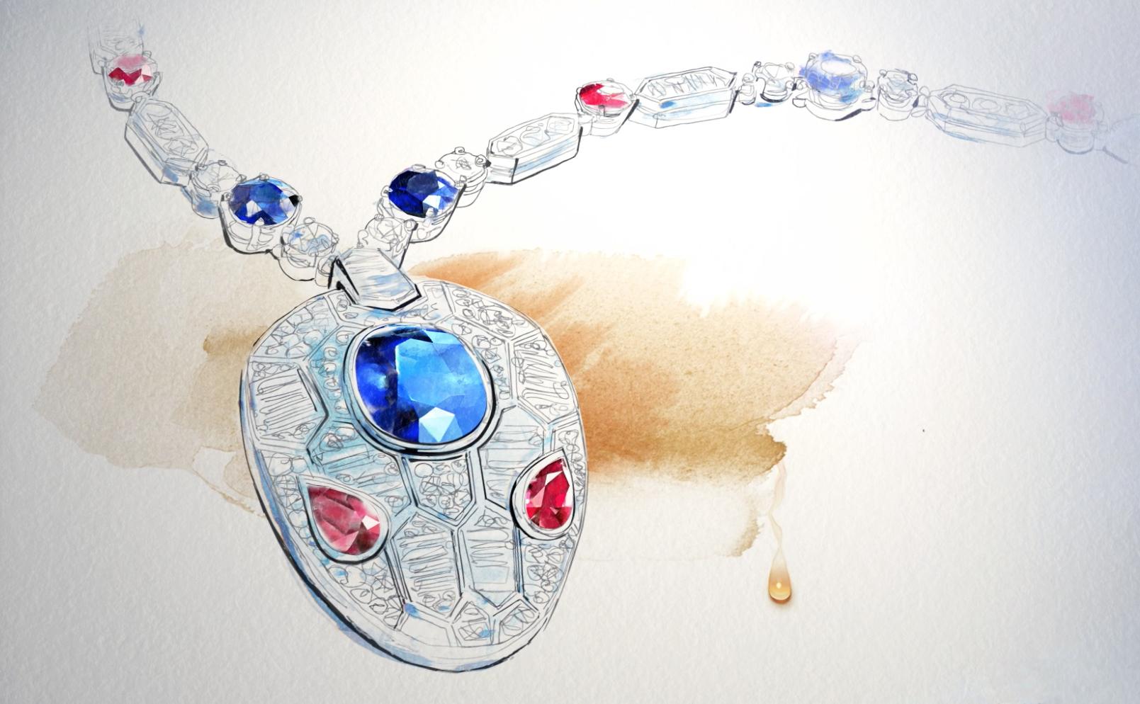 Watercolor illustration, fashion, jewelry