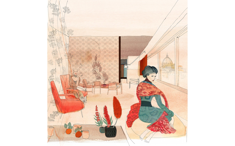 Watercolor illustration, fashion, interior