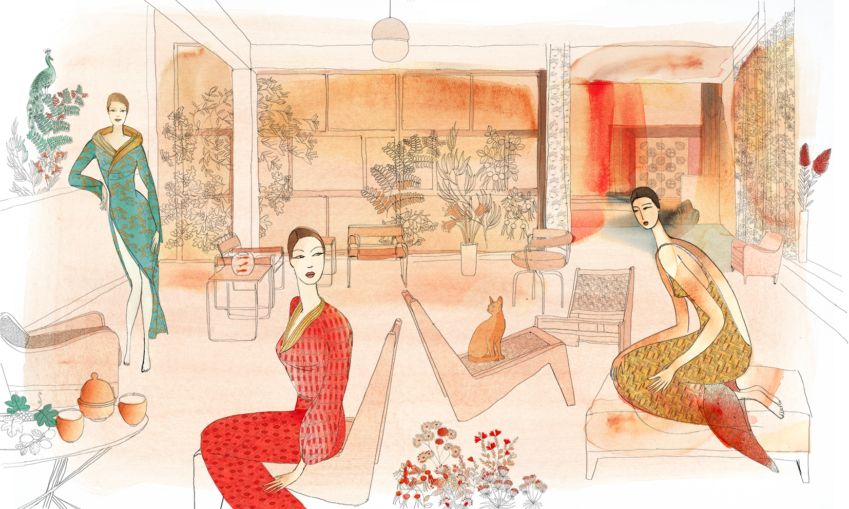 Watercolor illustration, fashion, interior