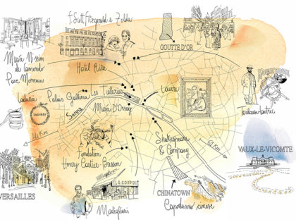 Watercolor illustration, map, Paris, France, Alessandra Scandella