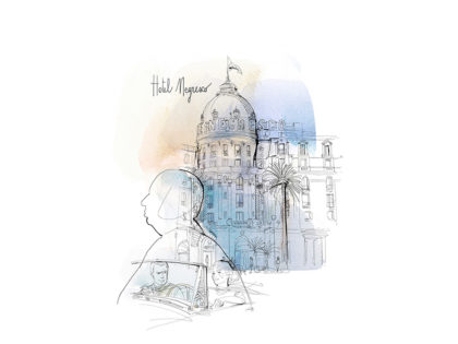 Watercolor illustration, travel, France, Hotel Negresco, Alessandra Scandella