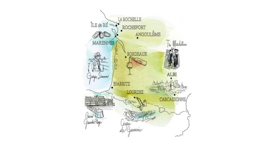 Watercolor illustration, travel, France, map, Alessandra Scandella