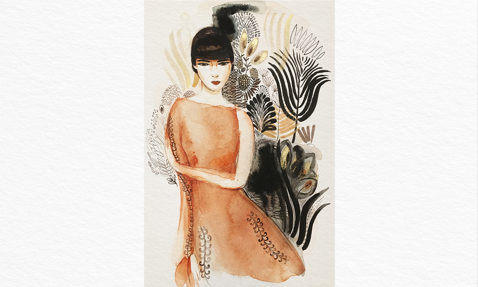 Watercolor ink fashion illustration, Alessandra Scandella